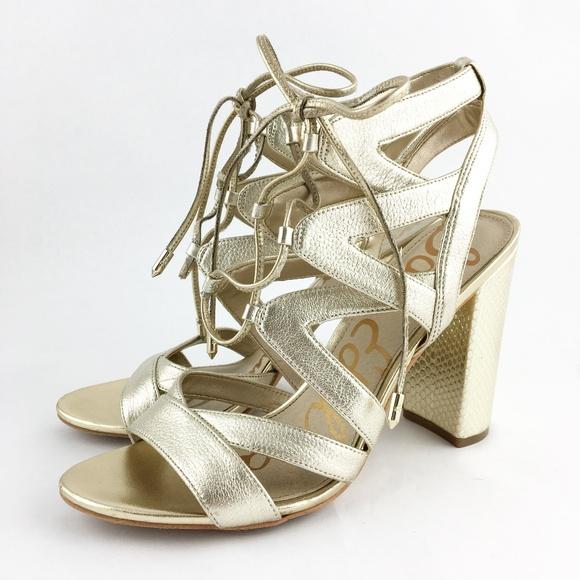 14b7f58fd Sam Edelman Yardley Gold Lace Up Heel Sandals 9. M 5b3b037afe5151b8d08724c2